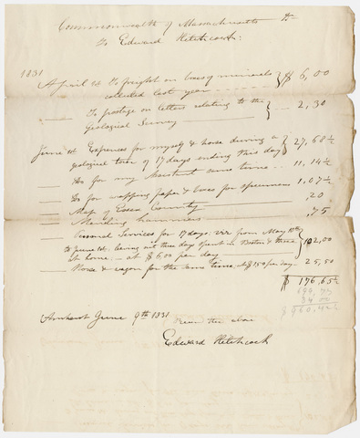 Edward Hitchcock geological survey expense account, 1831 April to 1831 June