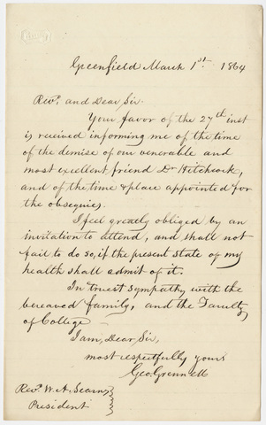 George Grennell letter to William Augustus Stearns, 1864 March 1