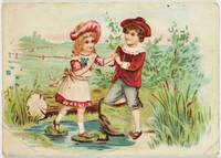 Scene depicting boy helping girl across a brook