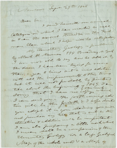 Edward Hitchcock letter to unidentified recipient, 1846 September 29