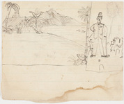 Drawings of tropical landscape and croquet game