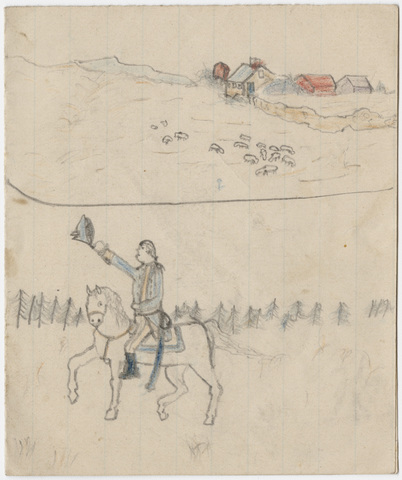 Drawings of farmhouses, sailboats and man on horse
