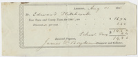 Edward Hitchcock receipt of payment to the town of Amherst, 1848