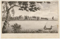 View of the East River or Sound taken from Riker's Island with a distant view of the seat of Joshua Waddington Esq.