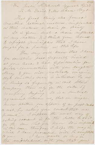 Justin Hitchcock letter to David and Silence Hoyt, 1773 April 3, manuscript copy