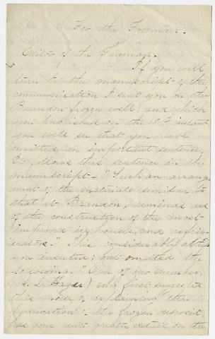 Edward Hitchcock letter to the editor of the Freeman, 1859 September 17