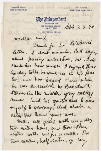 William Hayes Ward letter to Emily Hitchcock Terry, 1910 September 27