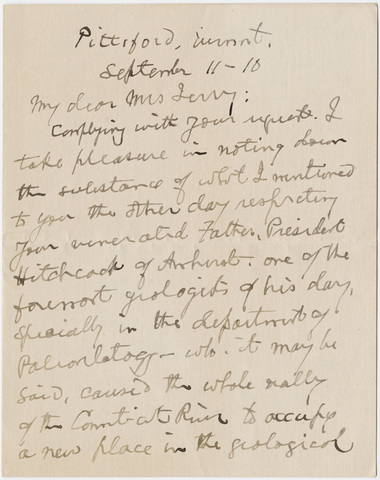 Simeon Gilbert letter to Emily Hitchcock Terry, 1910 September 11