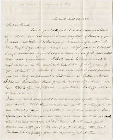 Catharine Hitchcock letter to Mary March, 1848 September 23