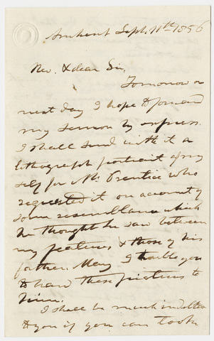 Edward Hitchcock letter to unidentified recipient, 1856 September 11