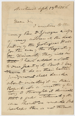 Edward Hitchcock letter to unidentified recipient, 1856 September 13