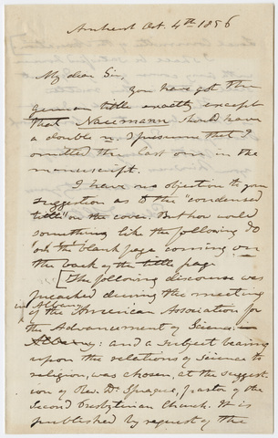 Edward Hitchcock letter to unidentified recipient, 1856 October 4