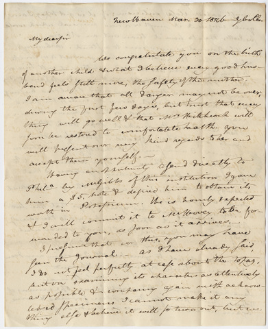 Benjamin Silliman letter to Edward Hitchcock, 1826 March 20