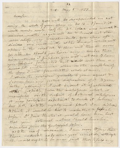Benjamin Silliman letter to Edward Hitchcock, 1823 May 5