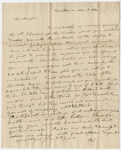 Benjamin Silliman letter to Edward Hitchcock, 1824 March 6
