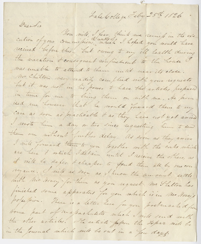 Benjamin Douglas Silliman letter to Edward Hitchcock, 1826 February 25