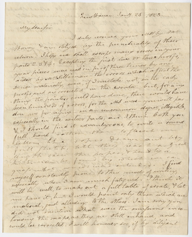 Benjamin Silliman letter to Edward Hitchcock, 1823 January 25