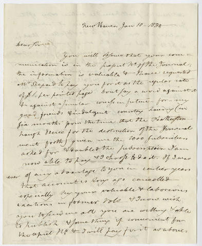 Benjamin Silliman letter to Edward Hitchcock, 1830 January 10