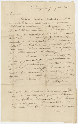 Epaphras Hoyt letter of recommendation for Edward Hitchcock, 1815 January 20