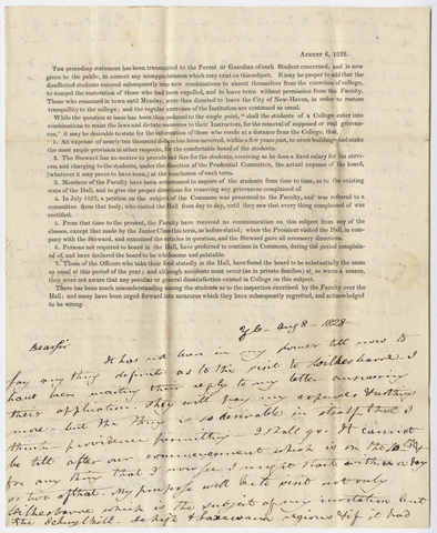 Benjamin Silliman letter to Edward Hitchcock, 1828 August 8