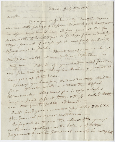 Benjamin Silliman letter to Edward Hitchcock, 1831 July 27