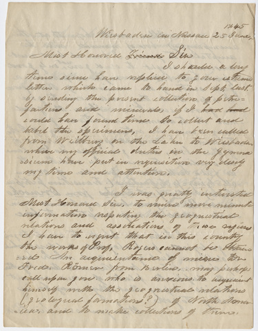 Guido Sandberger letter to Edward Hitchcock, 1845 June 25