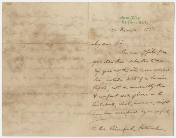 Richard Owen letter to Edward Hitchcock, 1860 December 21