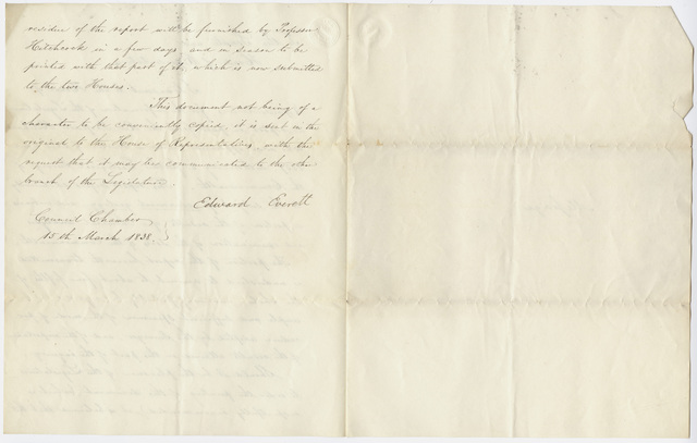 Governor Edward Everett special message to the Massachusetts Senate and House of Representatives, 1838 March 15