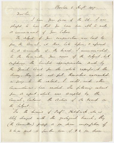 Governor Edward Everett letter to Edward Hitchcock, 1837 August 5