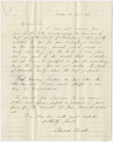 Governor Edward Everett letter to Edward Hitchcock, 1837 November 25