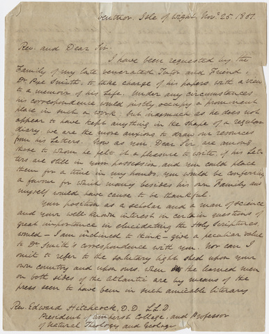 John Medway letter to Edward Hitchcock, 1851 November 25