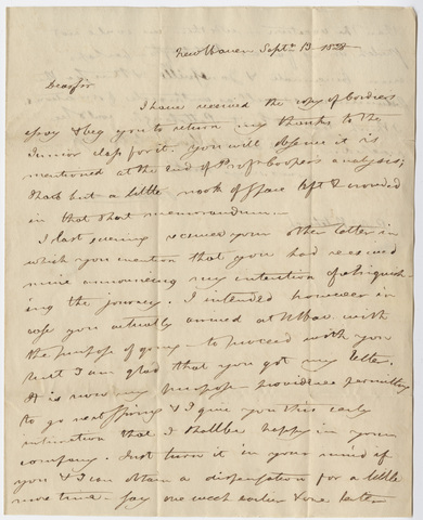 Benjamin Silliman letter to Edward Hitchcock, 1828 September 13
