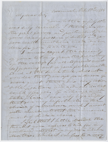 Justin Perkins letter to Edward Hitchcock, 1854 October 10