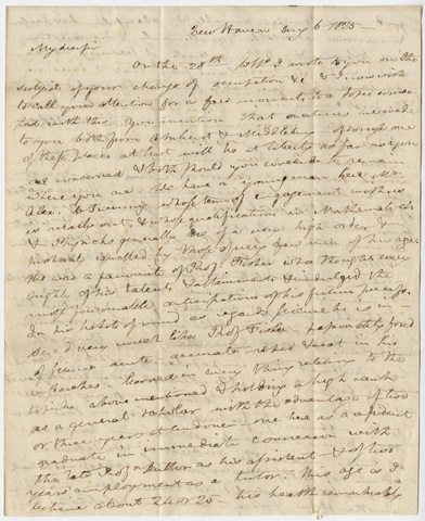 Benjamin Silliman letter to Edward Hitchcock, 1825 August 6