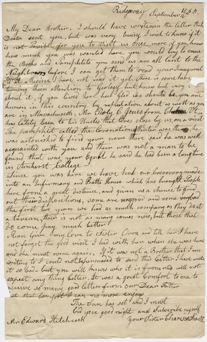 Charissa Swett letter to Edward Hitchcock, 1845 September 16