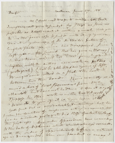 Benjamin Silliman letter to Edward Hitchcock, 1831 June 27