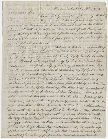 Justin Perkins letter to Edward Hitchcock, 1845 February 14