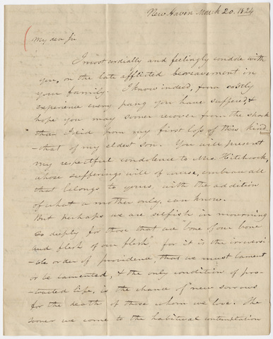 Benjamin Silliman letter to Edward Hitchcock, 1824 March 20
