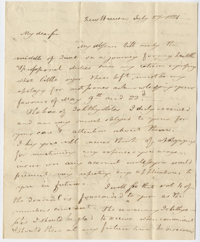 Benjamin Silliman letter to Edward Hitchcock, 1821 July 27