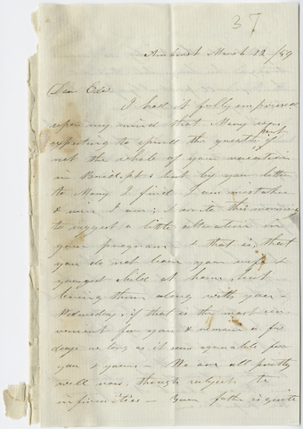 Orra White Hitchcock letter to Edward Hitchcock, Jr., 1859 March 12