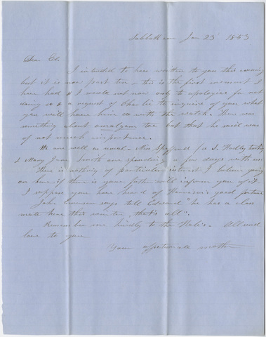 Orra White Hitchcock letter to Edward Hitchcock, Jr., 1853 January 23
