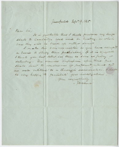 James Deane letter to Edward Hitchcock, 1845 September 9
