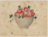 Watercolor of a bowl of strawberries, version 2