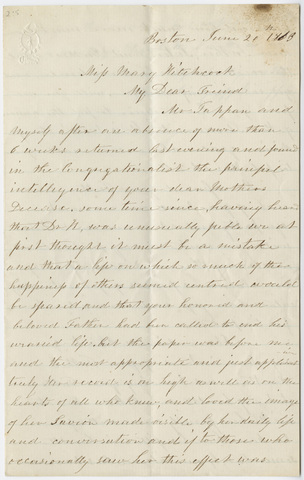 Hannah Tappan letter to Mary Hitchcock, 1863 June 20