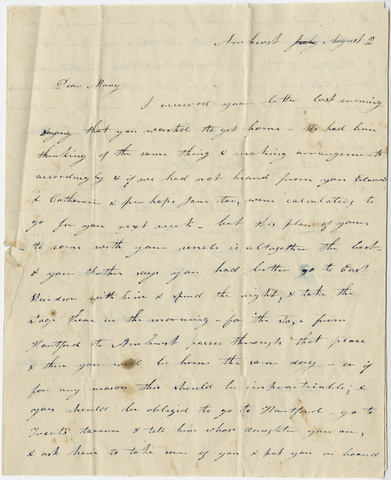 Orra White Hitchcock letter to Mary Hitchcock, August 2