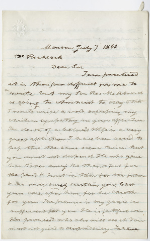 Alfred Ely letter to Edward Hitchcock, 1863 July 7
