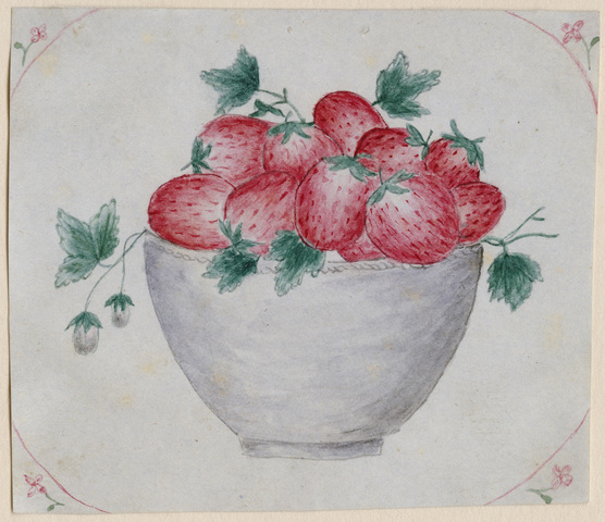 Watercolor of a bowl of strawberries, version 1