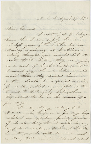 Orra White Hitchcock letter to Edward Hitchcock, Jr., 1857 August 27