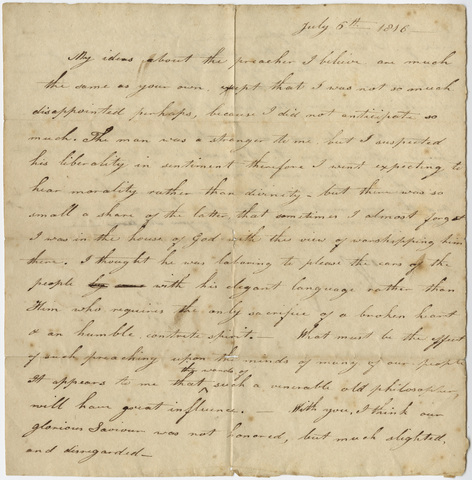 Orra White Hitchcock letter to unidentified recipient, 1816 July 6