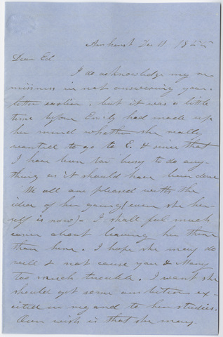Orra White Hitchcock letter to Edward Hitchcock, Jr., 1855 December 11